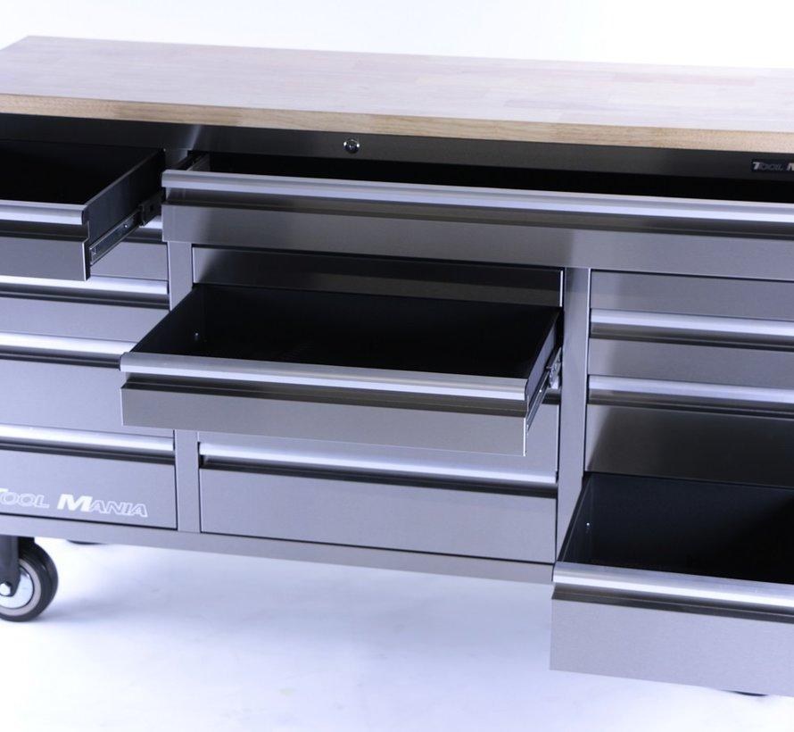 TM 161 cm Profi Edelstahl-Werkzeugwagen / Werkbank mit Holzplatte