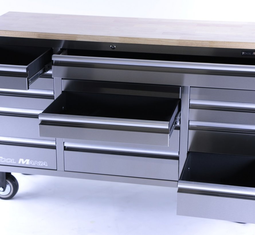 TM 161 cm Profi stainless steel tool trolley / workbench with wooden top