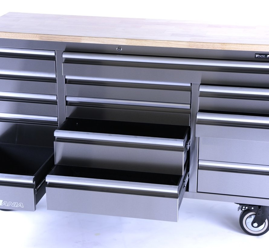 TM 161 cm Profi RVS Gereedschapswagen / Werkbank met Houten Blad