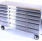 TM TM 161 cm Profi stainless steel tool trolley / workbench with wooden top