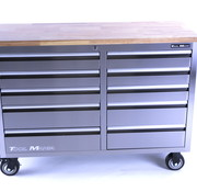TM TM 136 cm Profi stainless steel tool trolley / workbench with wooden top