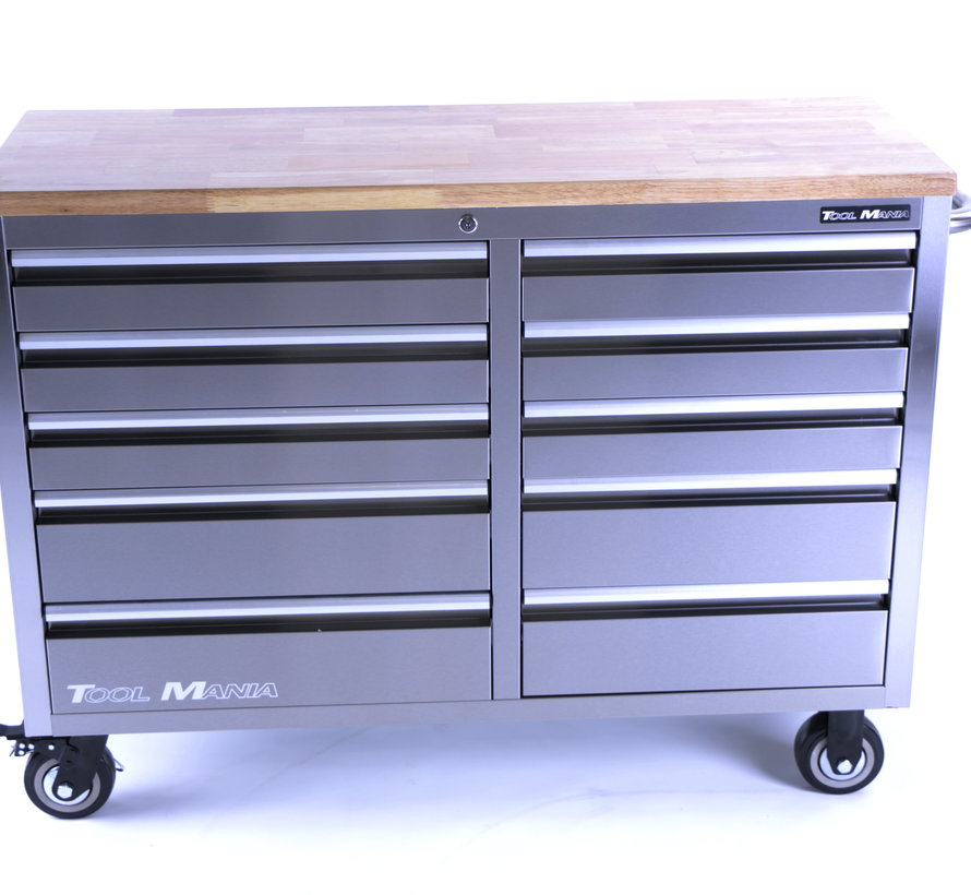 TM 136 cm Profi stainless steel tool trolley / workbench with wooden top