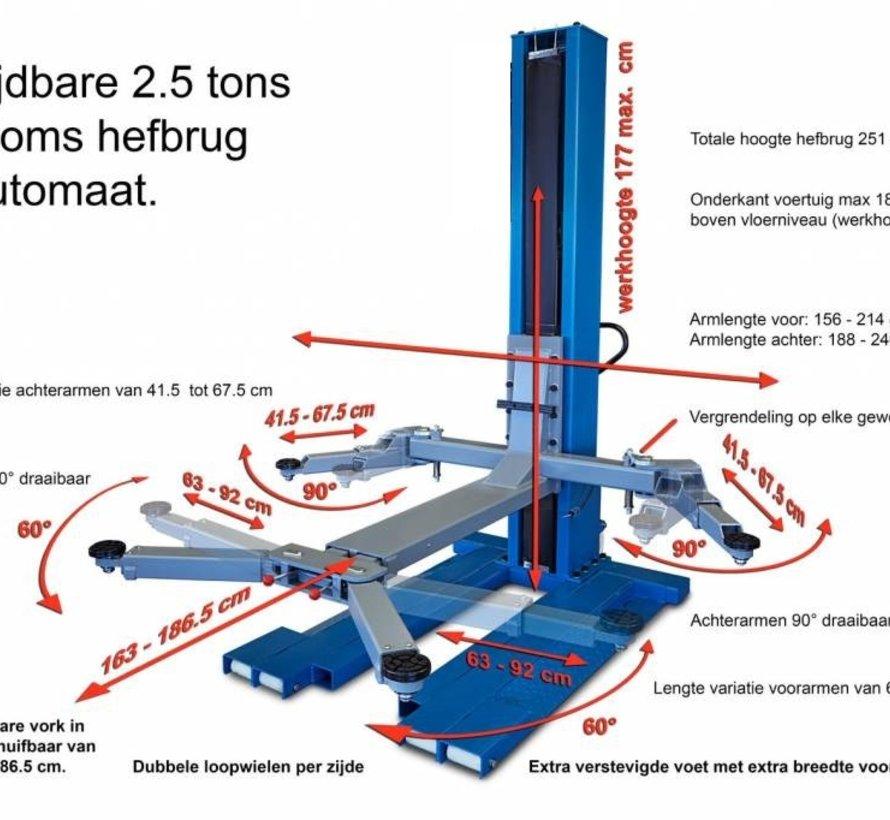 Mobile 1-koloms hefbrug met Handmatige ontgrendeling