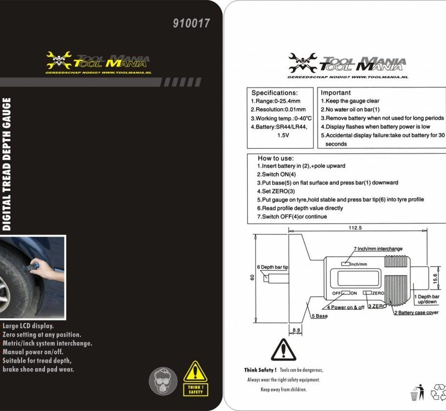 TM Digitales Reifenprofilmessgerät