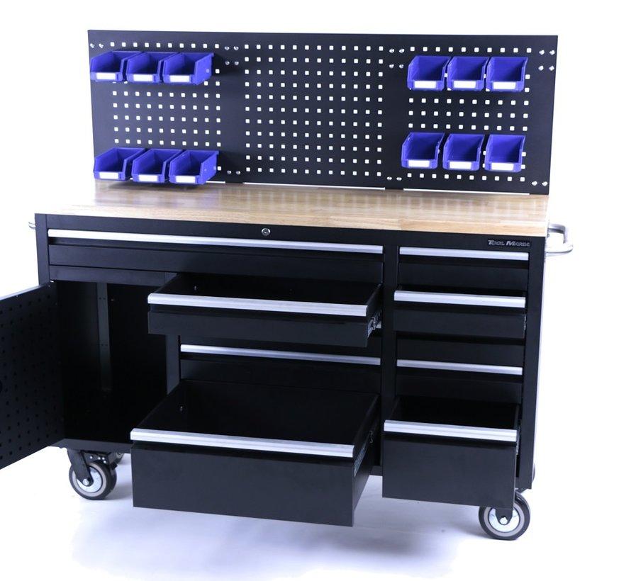 TM 158 cm 10 Schubladen Werkbank mit Tür und Rückwand