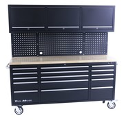 TM TM 182 cm Workbench with cupboard wall and wooden top in black