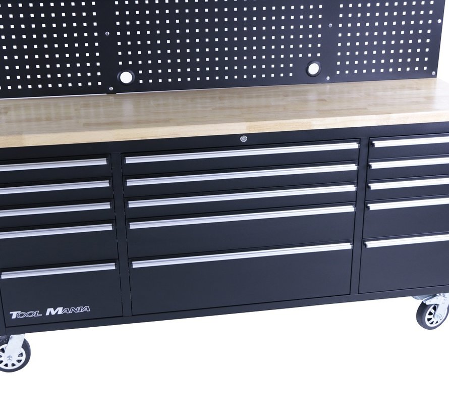 TM 182 cm Workbench with cupboard wall and wooden top in black
