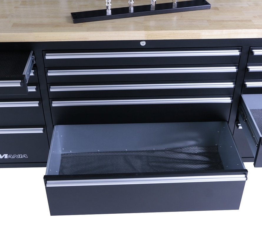 TM 182 cm Werkbank met Kastenwand en Houten Blad Zwart