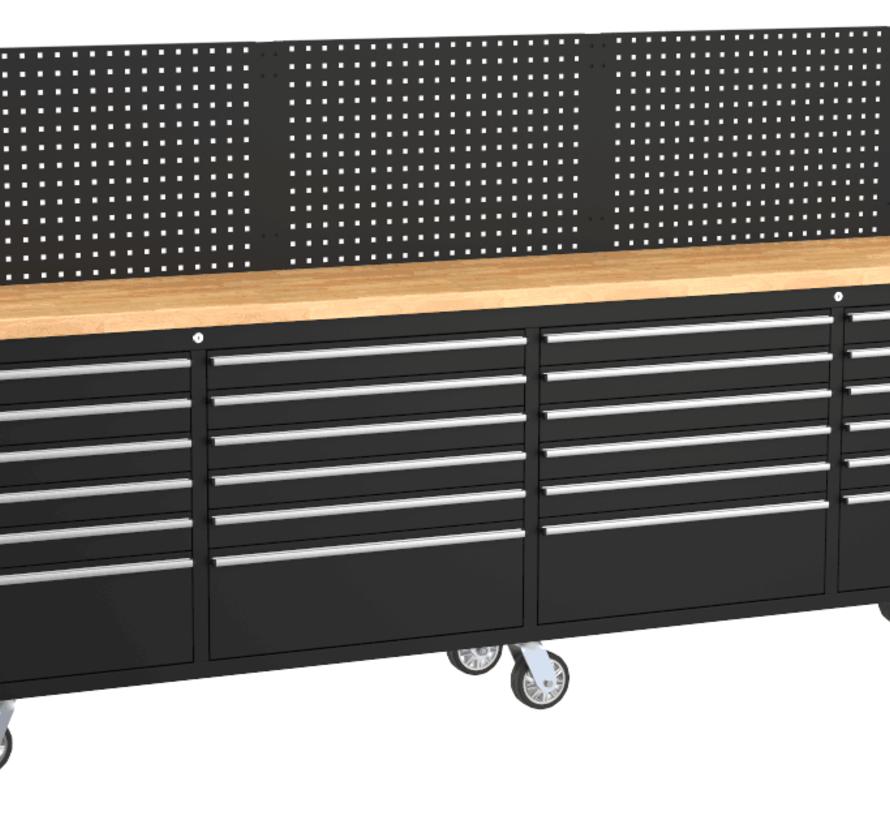 TM 258 cm Profi Gereedschapswagen / Werkbank met Houten Blad - ZWART