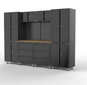 TM Premium schwarz Werkstatt Interieur mit Werkbank und Werkzeugschränken 11 Stück