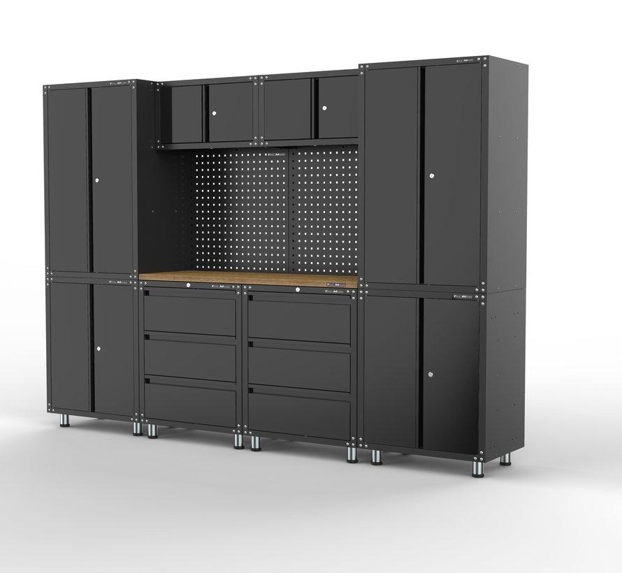 Premium zwarte werkplaatsinrichting met werkbank en gereedschapskasten 11 delig