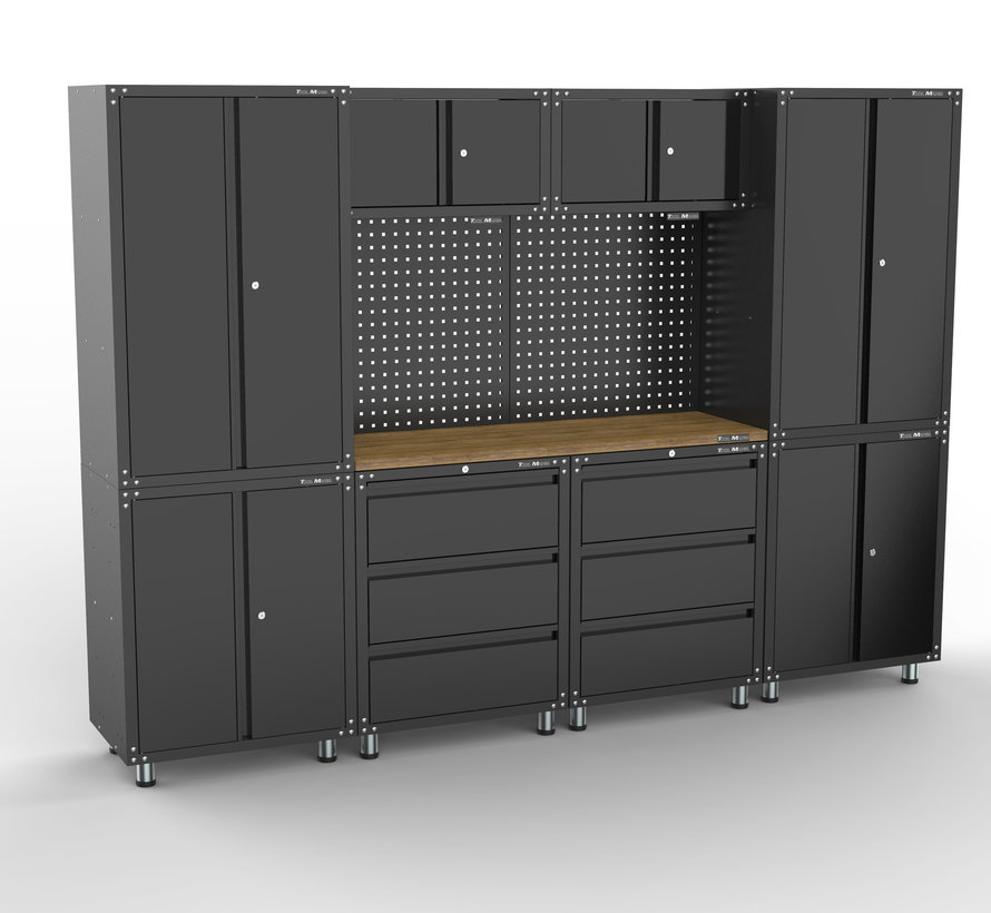 Premium black workplace design with workbench and tool cabinets 11 parts