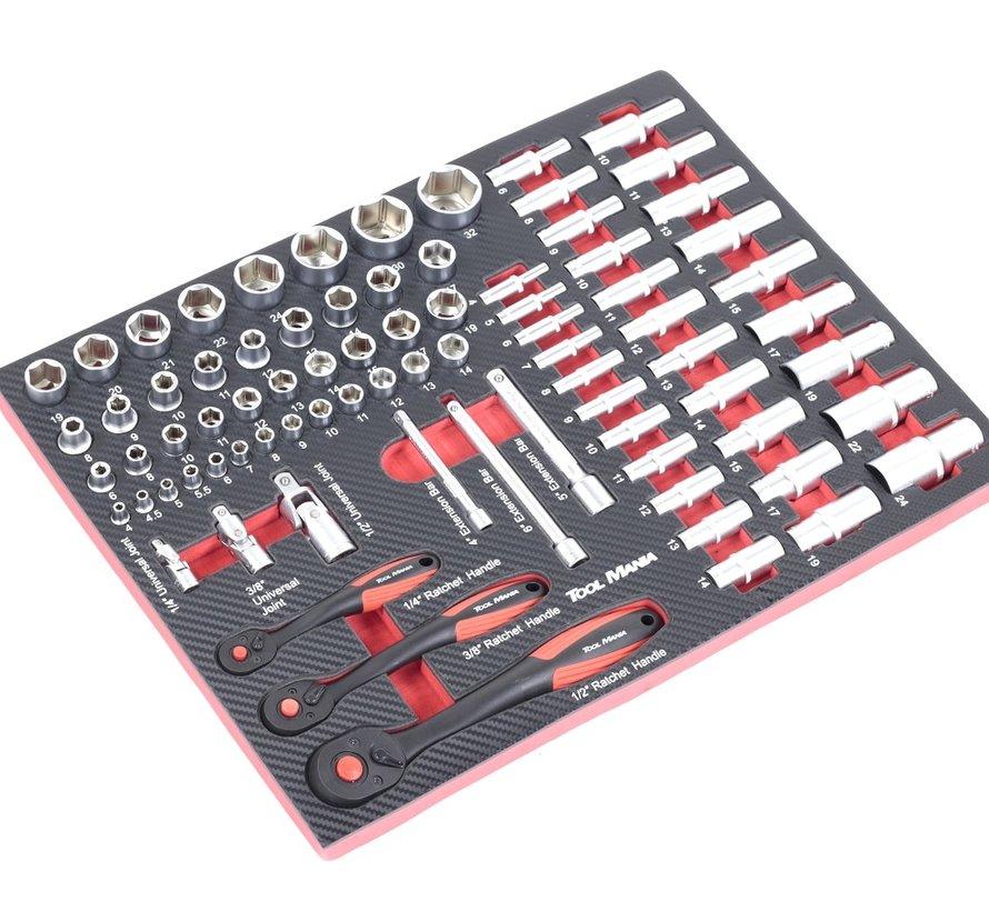 TM 262-teiliges Premium-Werkzeug, das mit Carbon-Look gefüllt ist