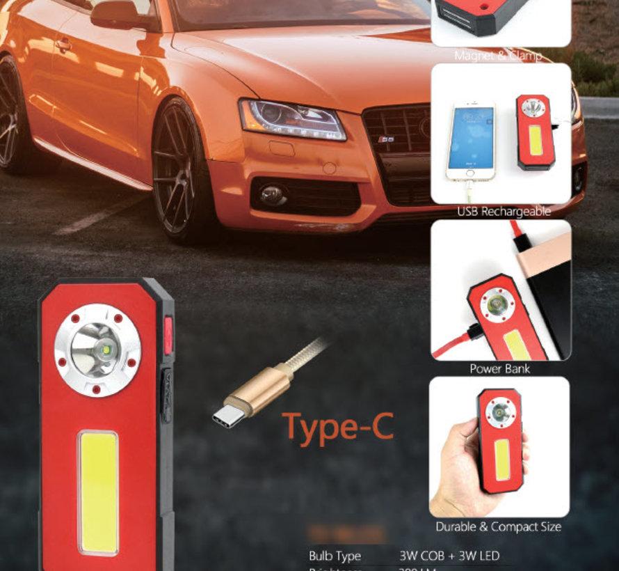 TM Wiederaufladbare schmale LED-Taschenlampe / Looplamp / Arbeitslampe mit Power Bank