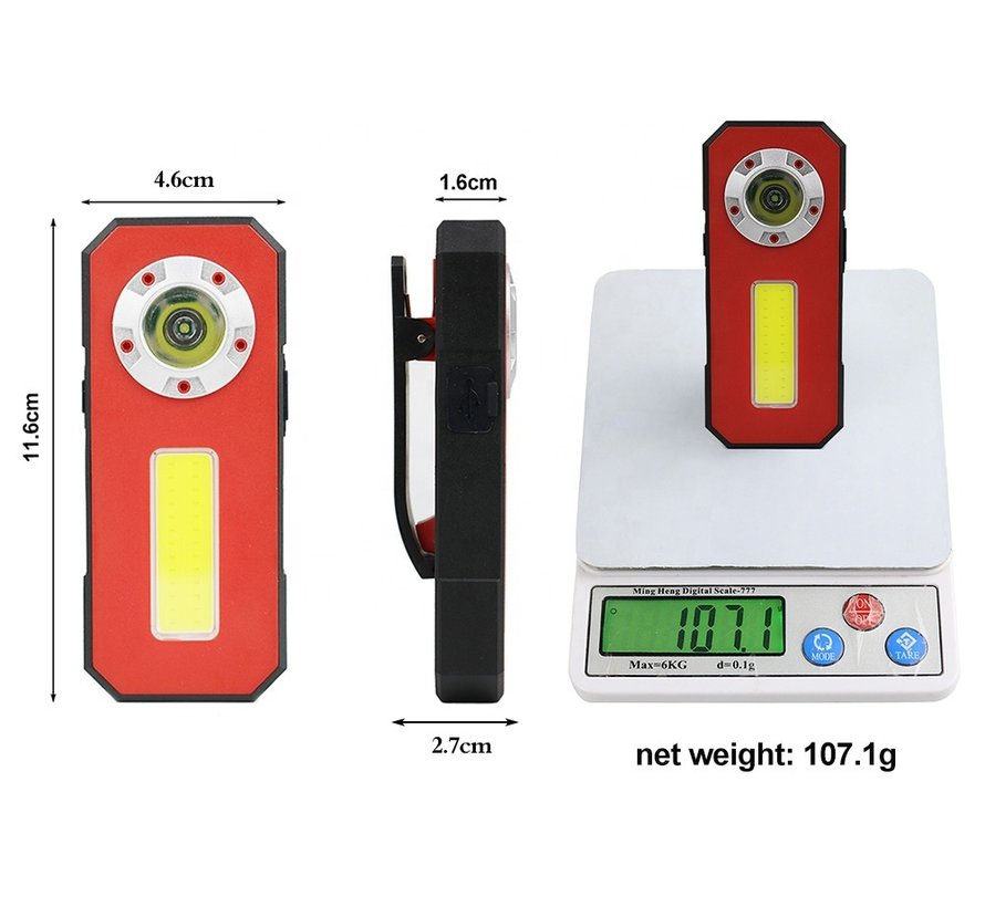 TM Oplaadbare  Smalle LED Zaklamp/Looplamp/werklamp met Power Bank