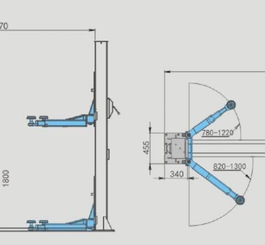 TM Professionele 2 Koloms Hydraulische Hefbrug 4 Ton V2