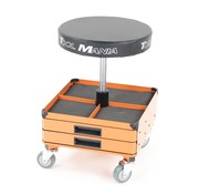 TM TM Mobile Workshop Stool, Chair, Seat Stool With 3 Tool Drawers