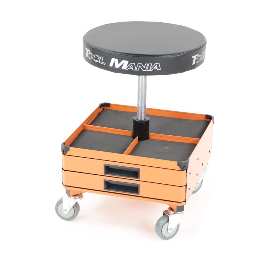 TM Mobile Workshop Stool, Chair, Seat Stool With 3 Tool Drawers