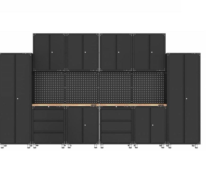 Premium zwarte werkplaatsinrichting met werkbank en gereedschapskasten 16 delig
