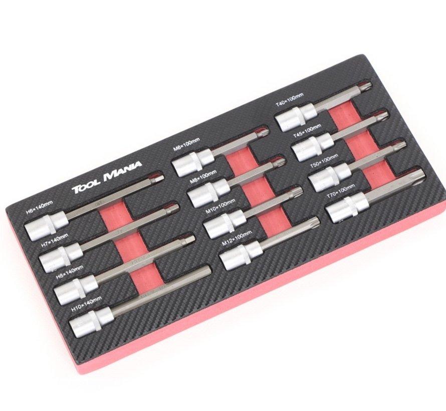 TM 12-teiliges Rib, Inbus, Torx 1/2 Sockel-Set Schaumstoff-Carbon-Look-Inlay
