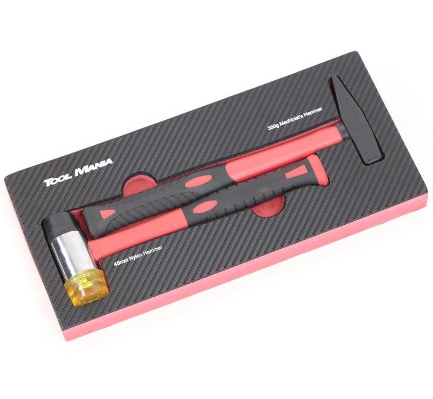 TM 2-teiliges Hammer Set Schaumstoff-Carbon-Look-Inlay
