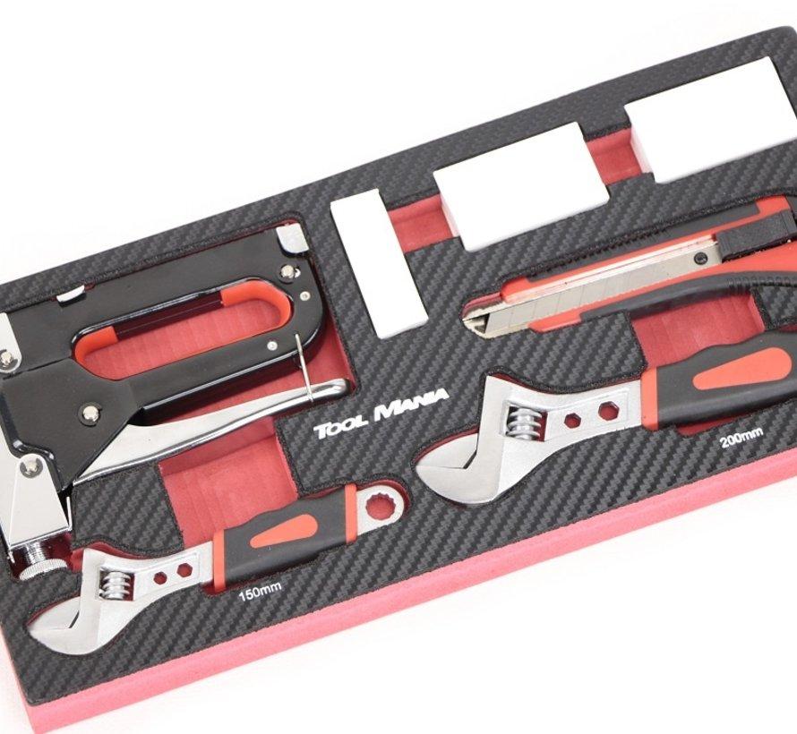 TM 7-teiliger Tacker, Stanley-Messer, Zange mit Schaumstoff-Carbon-Look-Inlay