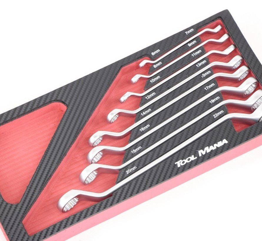 TM 8-teiliges Ringschlüssel-Set mit Schaumstoff-Carbon-Look-Inlay