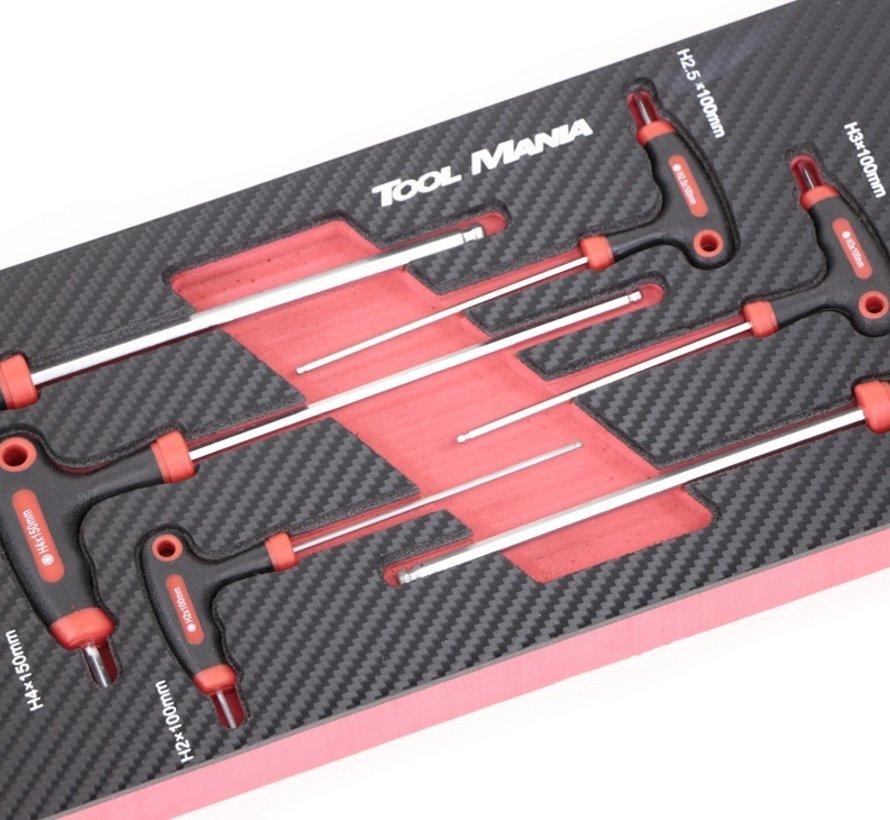 TM 6-teiliges T-Grip Hex-Set Schaumstoff-Carbon-Look-Inlay
