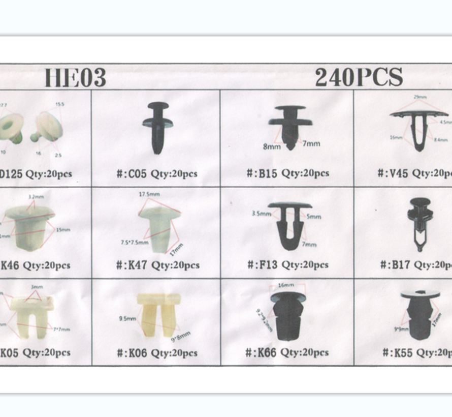 TM 240 Delige Assortiment Screw Rivits voor TOYOTA / HONDA /  SUZUKI