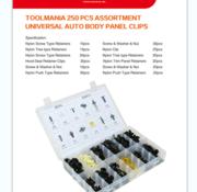 TM TM 250 Stück Sortiment Schraubennieten für VOLVO, FORD, SUZUKI, NISSAN, TOYOTA, HONDA