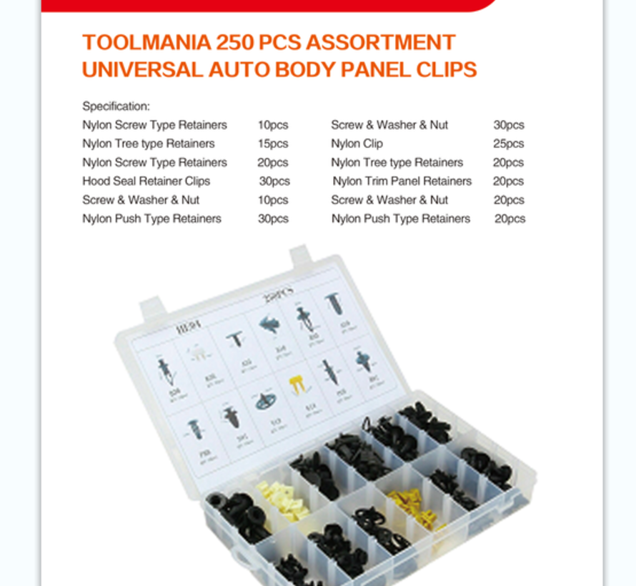 TM 250 Delige Assortiment bekleding clips voor VOLVO , FORD , SUZUKI , NISSAN ,  TOYOTA , HONDA