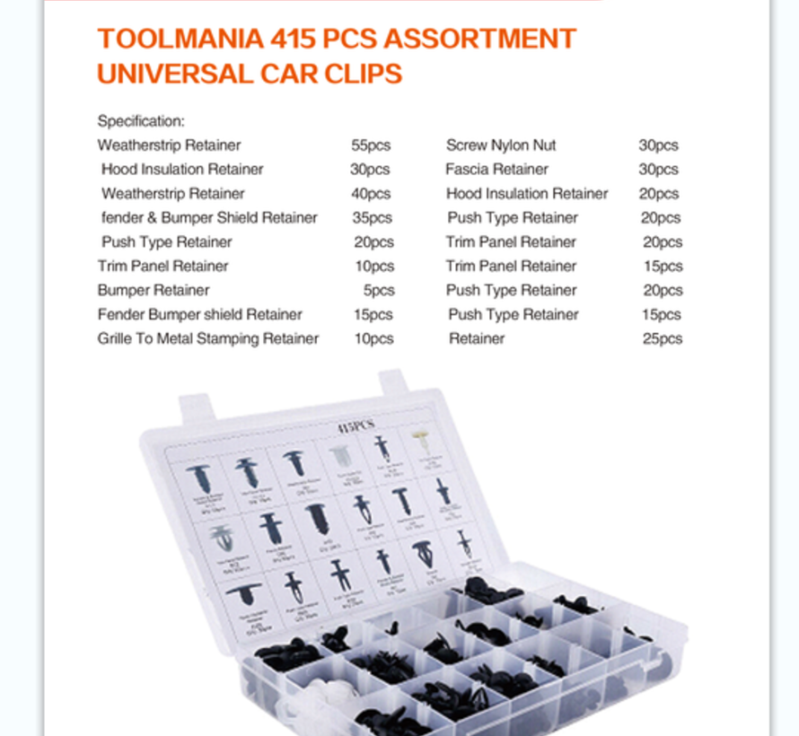 TM 415 Delige Assortiment Screw Rivits voor FORD / NISSAN / BMW / HYUNDAI /  HONDA