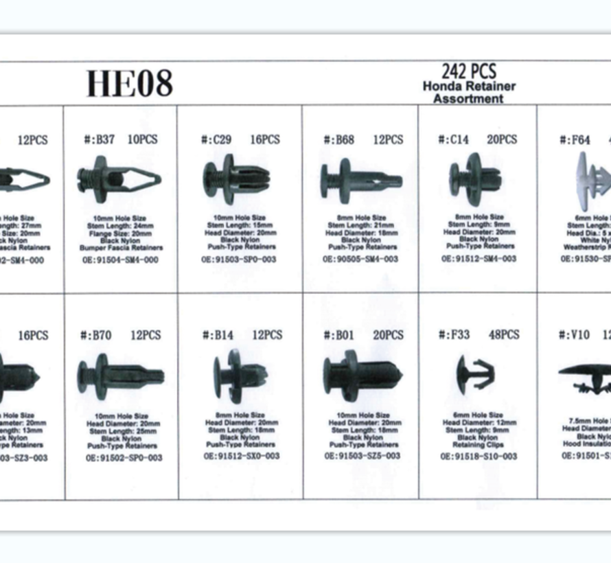 TM 242 Stück Sortiment Zierclips für HONDA
