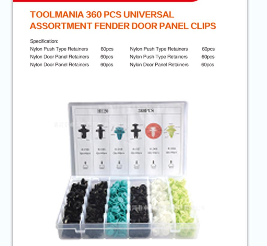 TM 360 Piece Assortment Screw Rivits / Clips MIX