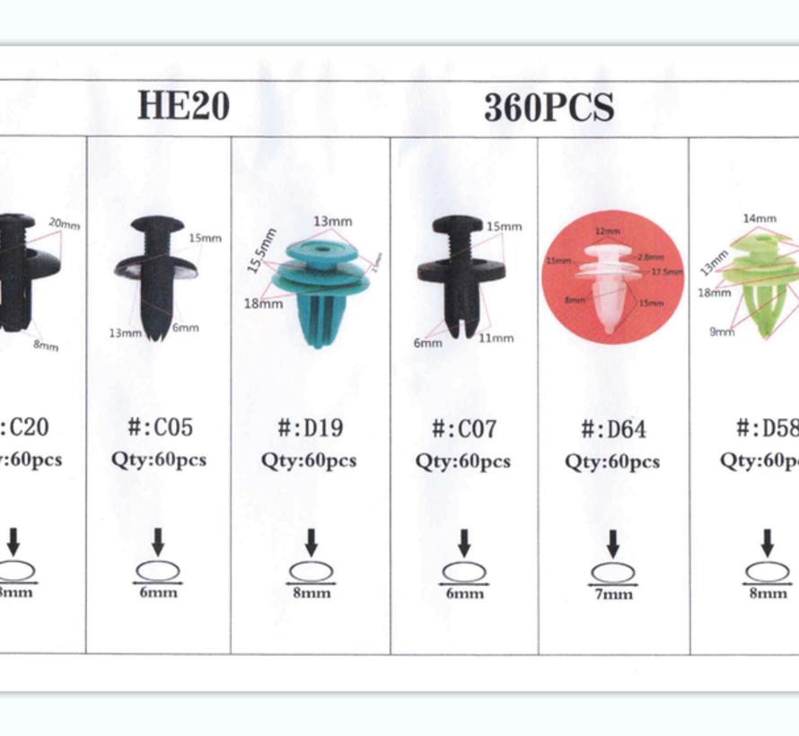 TM 360 Delige Assortiment Screw Rivits / Clips  MIX
