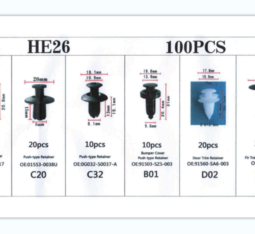 TM 100 Delige Assortiment Screw Rivits / Clips  MIX