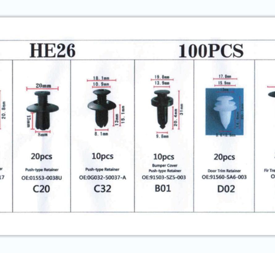 TM 100 Piece Assortment Screw Rivits / Clips MIX