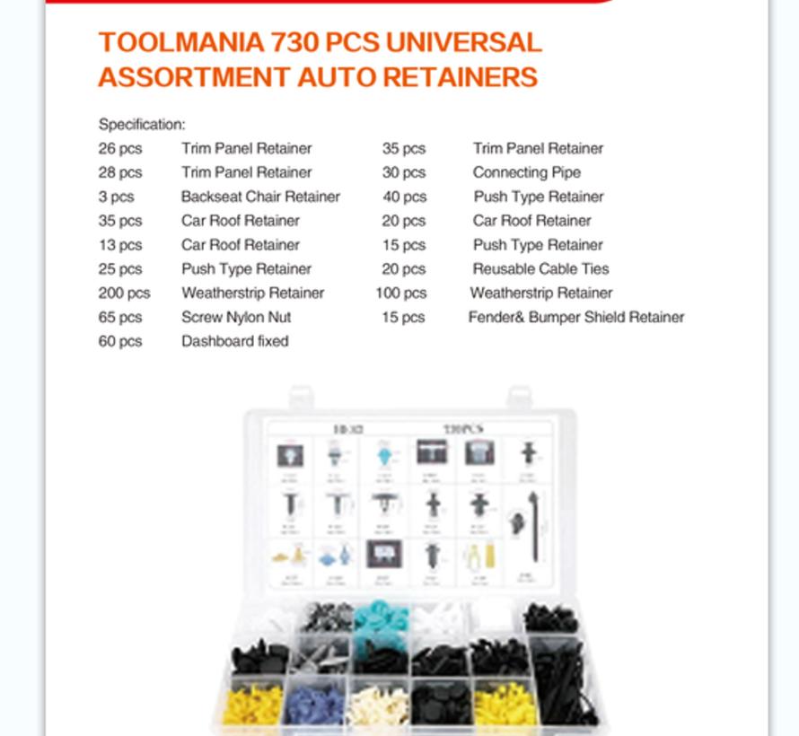 TM 730 Piece Assortment Screw Rivits / Clips MIX