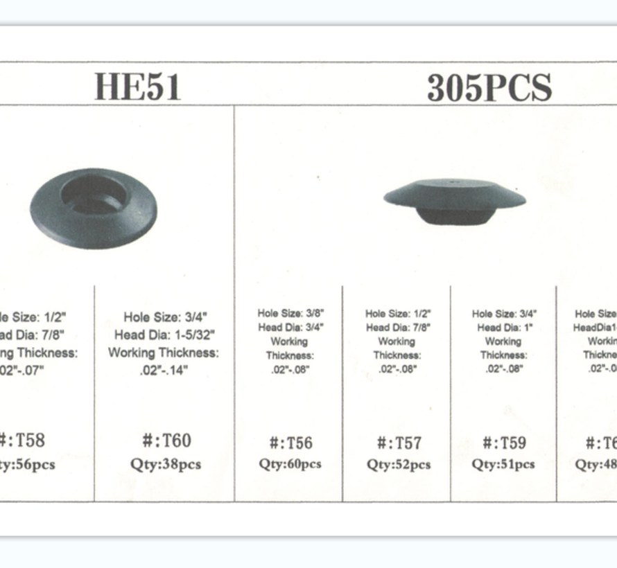 TM 305 Delige Assortiment Bekleding Clips  MIX Afdekdop