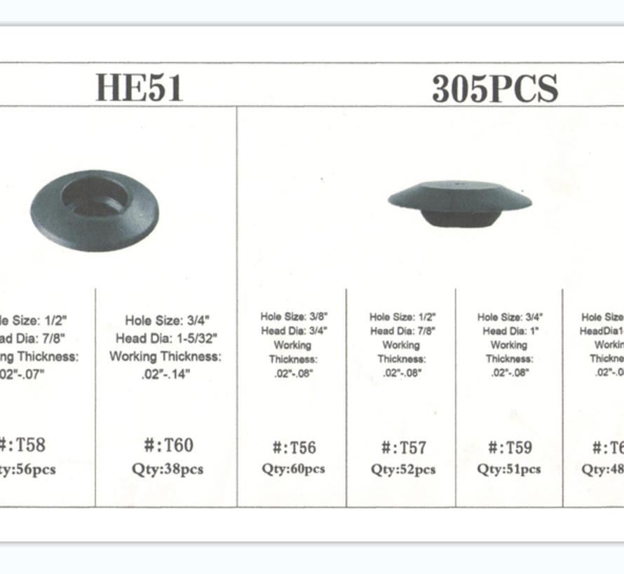 TM 305 Delige Assortiment Screw Rivits / Clips  MIX Afdekdop
