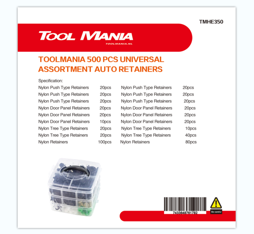 TM 350 Delige Assortiment Screw Rivits / Clips  MIX
