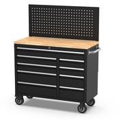 TM TM 122 cm Profi Tool trolley / Workbench with wooden top and rear wall
