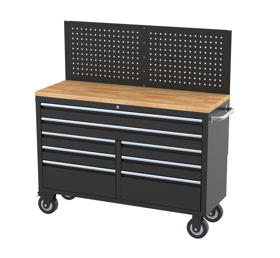 TM 146 cm Profi Tool trolley / Workbench with wooden top and rear wall