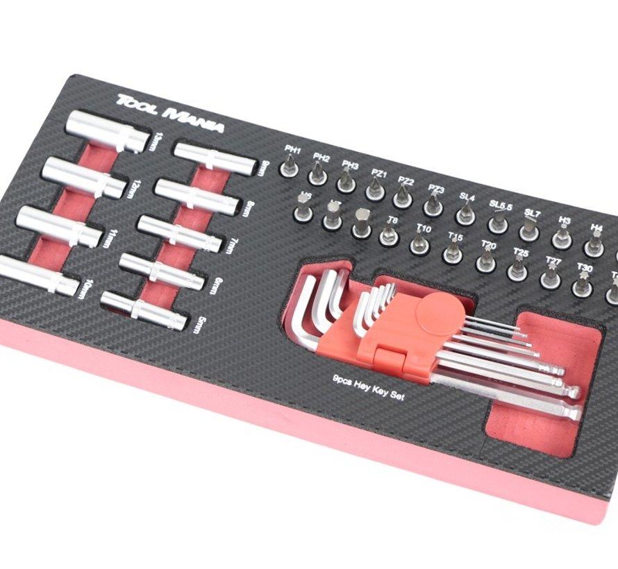 TM 42 Delige Doppen Inbus en Bitset 1/4 foam carbon look inlay