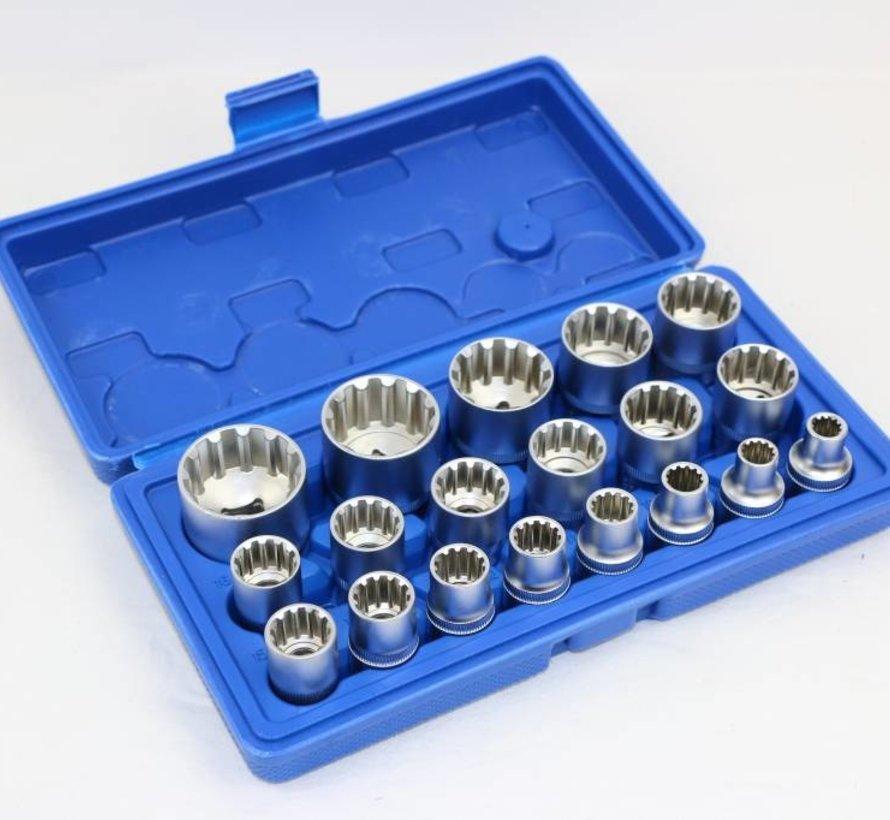 """TM 19 Delige 1/2"""" Multilock Doppenset Van 8 tot 32 mm"""