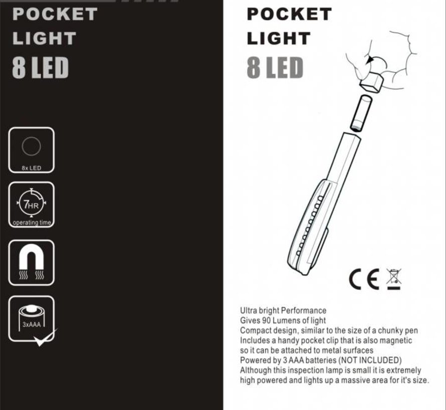8 LED Mini Zaklamp met Magneetvoet