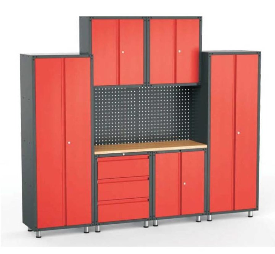 Complete garage inrichting met werkbank en gereedschapskasten 9 delig