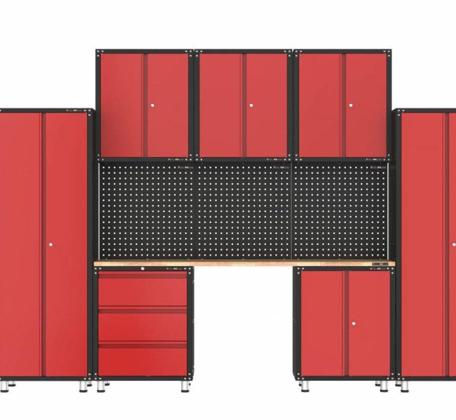 Complete garage inrichting met werkbank en gereedschapskasten 11 delig