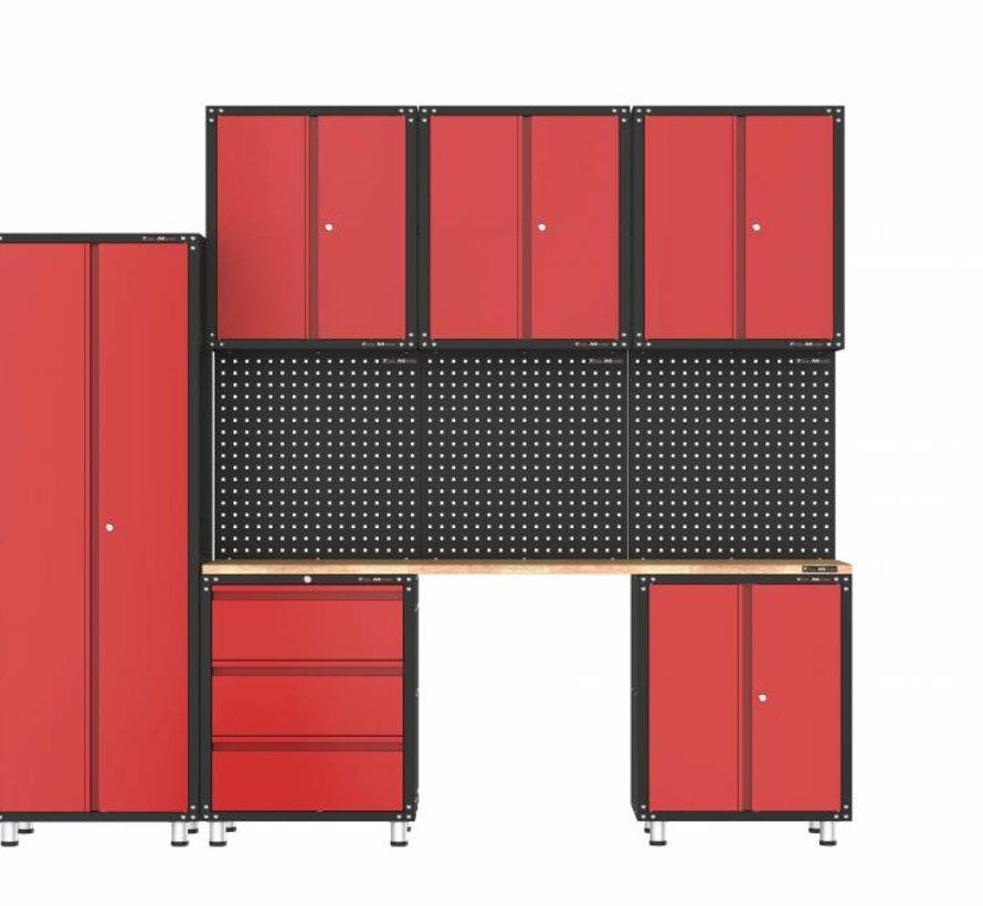 Complete garage inrichting met werkbank en gereedschapskasten 10 delig