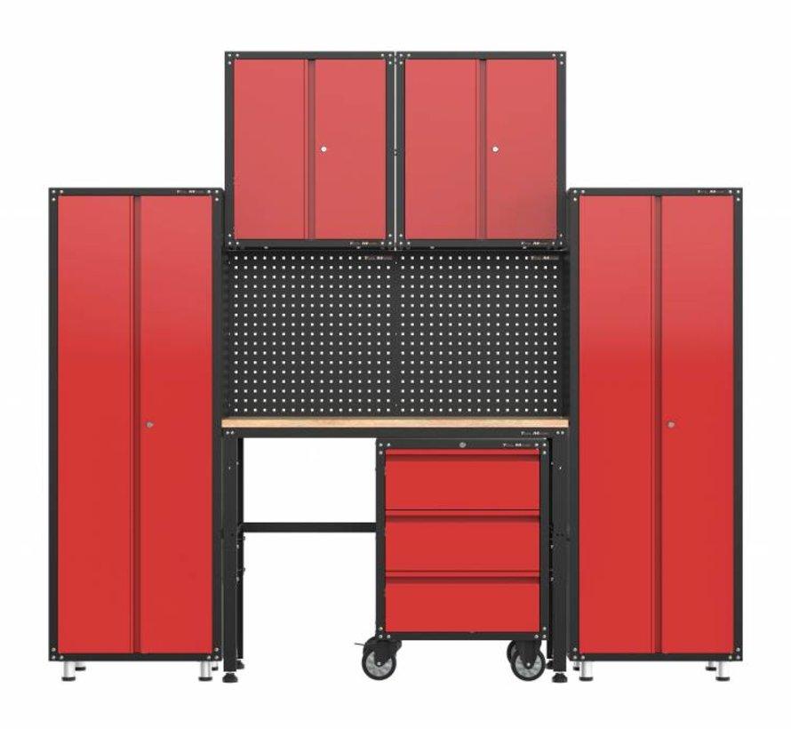Complete garage inrichting met werkbank en gereedschapskasten 6 delig